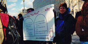 """Jews say no to war"" Shalom Ctr banner w/ !0 Commandments theme,, anti-Iraq War demo early 2003"