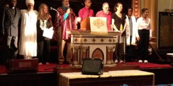 "Multireligious leaders of ""B;essing the Waters"" service, 9/21/12, incldg from Shalom Ctr, Reb Arthur & Rabbi Mordechai Liebling (at mike)"