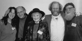 "Peter Yarrow, Bella Abzug, & ""Ice-Cream"" Ben Cohen being honored by Shalom Ctr;:Viki Laura List & Reb Arthur on 2 ends of photo, presenting honor"