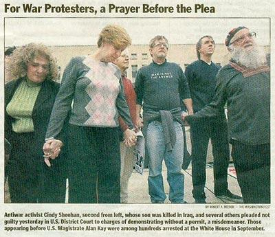 Photo of Sheehan, Waskow, others convicted in unusual trial for White House prot