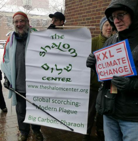 Reb Arthur at anti-Pipeline Protest, Philadelphia, 2/3/14
