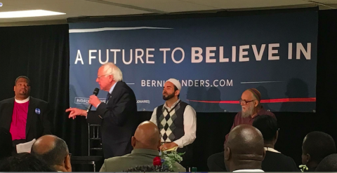 "Panel of clergy discussing ""A Moral Economy"" at ""Breakfast with Bernie,"" Philadelphia April 2016"