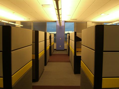 Aisle between cubicles