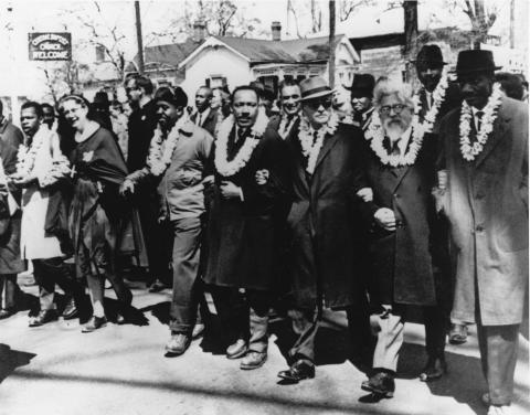 Heschel & King in the Selma-to-Montgomery March for voting rights and against racism, March 1965
