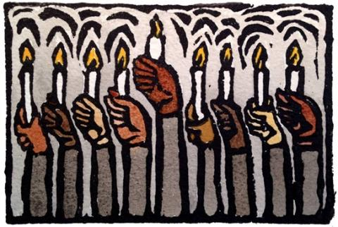 Multiracial Menorah by Zoe Cohen. See her work on ZoeCohen.com