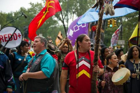 Sioux Nation leading People's Climate March, Sept 21, 2014, NYC