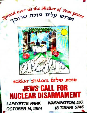 "This wonderfully colorful poster that beckoned people to a rally of prayerful politics -- ""our legs were praying"" -- in Lafayette Park during Sukkot 1984. The action was sparked by The Shalom Center a year after our founding."