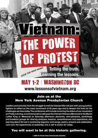 Flyer for 50th-year gathering of Vietnam War protesters: MLK, Dr Spock, etc