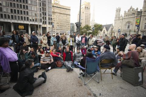 "Crowd uniting action, Torah & prayer at Sukkah,""Occupy Philadelphia"" Encampment"