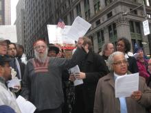 """The Elders"" (incl Reb Arthur) leading interfaith service with Occupy Wall St, 11/11"