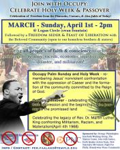Flyer  for Philadelphia event: Occupy Holy  Week & Passover, April 1