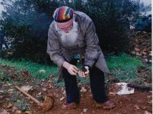 Reb Arthur planting  Olive Trees for Peace in West-Bank Palestine, 2002