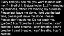 Transcript of Eric Garne's last words as he died in a poice chokehold