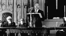 "MLK speaking ""Beyond Vietnam"" to Clergy & Laity conncerned at Riverside Church, NYC 4/4/67. Rabbi A.J. Heschel is nearby"