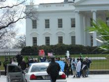 Arrests (incl Rabbi Waskow) at White House calling on President to act with urgency to heal Earth from climate crisis