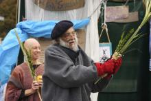 Photo of celebrating Sukkot in Occupy Philadelphia encampment at City Hall